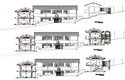 Elevation and section school architectural layout file