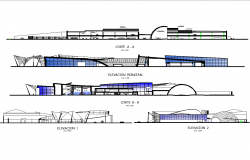 Elevation and section shopping mall plan layout file
