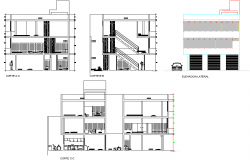 Elevation and section single family home layout file