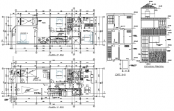 Elevation and section single family home plan layout file