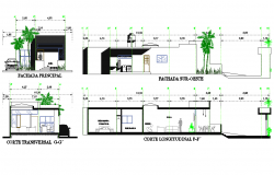Elevation and section single family house dwg file