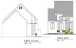 Elevation and section small house plan detail dwg file