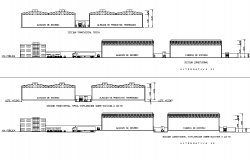 Elevation and section storage plan detail dwg file