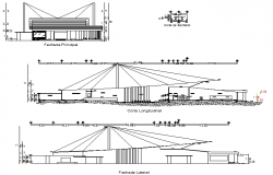 Elevation and section theater plan detail dwg file