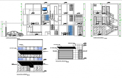 Elevation and section two story residential building plan autocad file