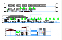 Elevation and section view civic center government building dwg file