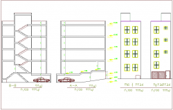 Elevation and section view for architectural plan of house building dwg file