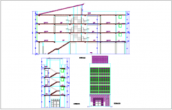 Elevation and section view for corporate building dwg file