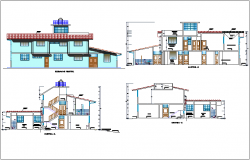 Elevation and section view for health center building dwg file