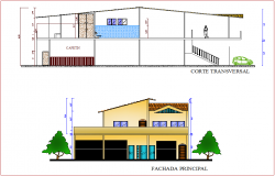 Elevation and section view for house building dwg file