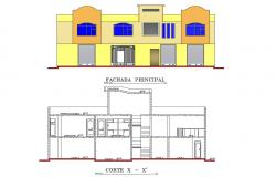 Elevation and section view for housing  building dwg file
