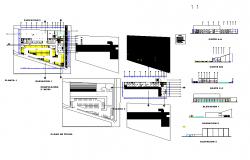 Elevation and section view for mall building dwg file
