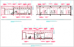 Elevation and section view for maternity hospital building dwg file