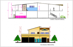 Elevation and section view for plant of house building dwg file