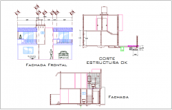 Elevation and section view for residential building dwg file