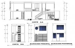 Elevation and section view for single family house building dwg file