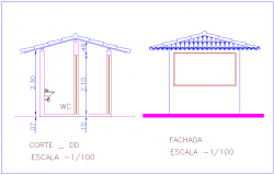 Elevation and section view of WC for industrial area dwg file