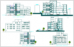 Elevation and section view of building dwg file
