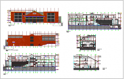 Elevation and section view of cultural center dwg file