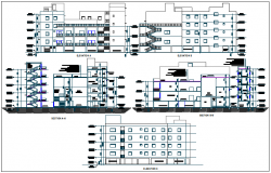 Elevation and section view of education building of collage dwg file