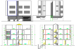 Elevation and section view of four flooring multi-family housing flats dwg file