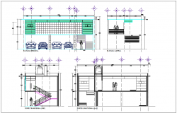 Elevation and section view of government board room dwg file