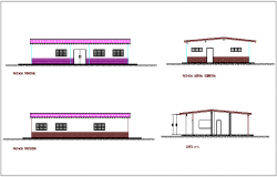 Elevation and section view of house of feeding for restaurant dwg file