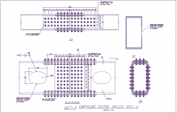 Elevation and section view of metal plate and bolting view for bridge dwg file