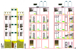 Elevation and section view of multi-flooring housing apartment dwg file