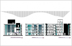 Elevation and section view of municipal building dwg file