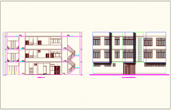 Elevation and section view of school dwg file