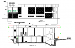 Elevation and section view of shop building dwg file