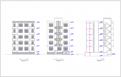 Elevation and section view residence building dwg file
