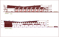Elevation and section view with construction view for zonal market dwg file