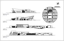 Elevation and section view with different axis and detail view of communal center dwg file