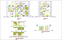 Elevation and section view with different axis for housing building dwg file