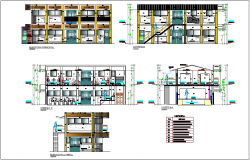 Elevation and section view with different axis of community center dwg file