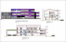 Elevation and section view with different axis of municipal building dwg file