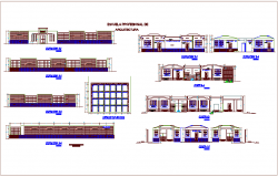 Elevation and section view with different axis of school dwg file