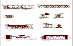 Elevation and section view with different side of house dwg file