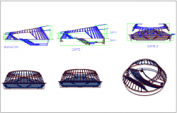 Elevation and section view with isometric view of amphitheater dwg file