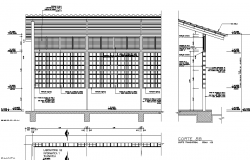 Elevation and section wall detail dwg file