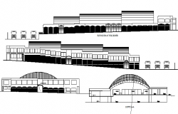 Elevation and sectional details of shopping mall with bus terminal dwg file
