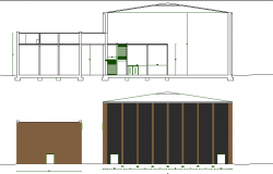 Elevation and sectional view of exhibition hall dwg file