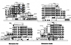Elevation and sectional view of ocean view boutique hotel dwg file