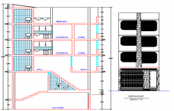 Elevation, sectional view of three flooring residential building dwg file
