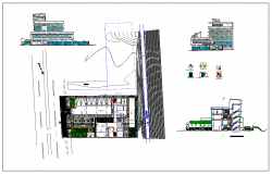 Elevation and side elevation view of building detail dwg file