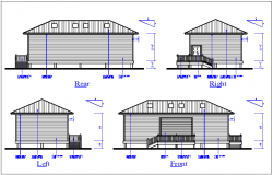 Elevation and side elevation view of house detail dwg file