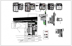 Elevation and side elevation view of office  building detail dwg file