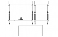 Elevation and side view of food table block dwg file